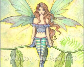 Green Garden - Flower Fairy Fine Art Giclee Print - Fantasy Illustration by Molly Harrison 9 x 12