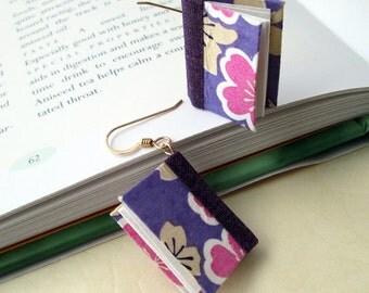 Purple Silhouette Mini Book Earrings