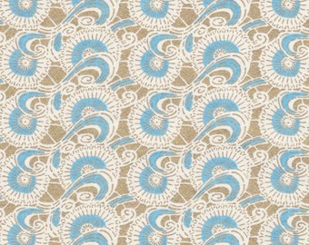 Chiyogami or yuzen paper - waves of fans - sky blue with metallic gold