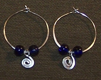 Hand Wired Hoop Earrings with Blue Glass Beads