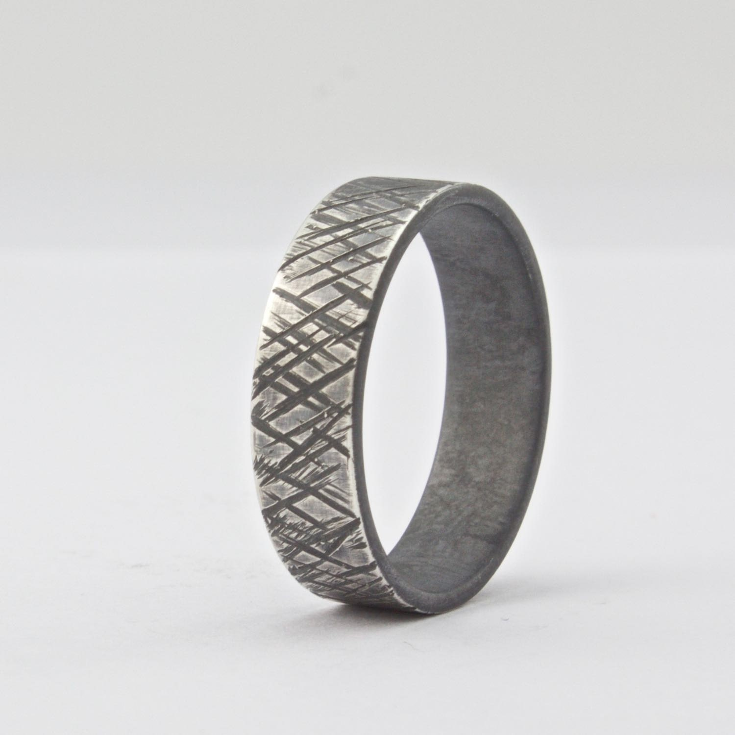 wide sterling silver ring mens wedding band rough finish