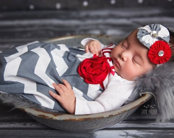 MONOGRAMMED Baby GOWN and HEADBAND set.. in charcoal grey chevron and red accents