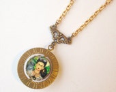Frida Kahlo Spinner Necklace// Frida with Monkeys - Solid Brass chain  - Spinner - vintage style jewelry - gift for her under 40 - under 50