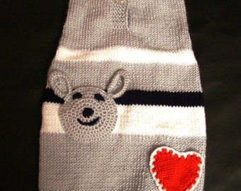 pet clothing  sweater hand knit  - measure made to fit  your dog perfectly - other colors are possible