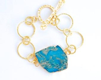 African Jasper Chunky Gold Bracelet