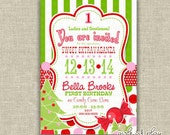 Birthday FIRST Christmas Invitation Candy Cane Green White Stripes Polka Dots Printable - by girlsatplay girls at play