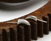 Rhino Studs - Post Earrings in Bright Sterling Silver - Spike Earrings Handmade by Queens Metal