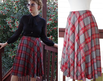 OXFORD 1970's 80's Vintage Grey & Red Plaid Wool Pleated Skirt // size Small