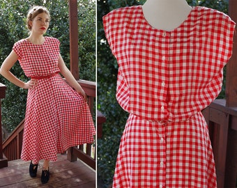 Summer PICNIC 1940's 50's Vintage Bright Red + White Gingham Dress with Button Front // size Small Med