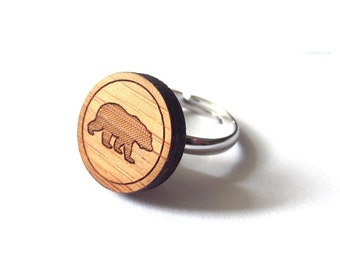 Big Bear Ring. Bear Ring. Grizzly Ring. Wood Ring. Gifts Under 25. Gift for Her. Bear Jewelry. Friend Gift. Girlfriend Gift. Mom Gift. Bear.