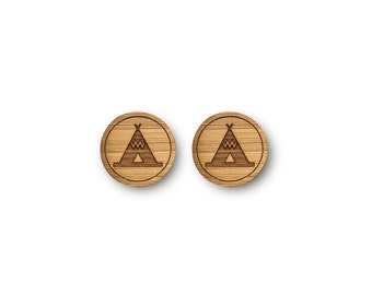 Mini Teepee Tent Earrings. Tent Earrings. Wood Earrings. Stud Earrings. Laser Cut Earrings. Bamboo Earrings. Gifts For Her. Gift For Women.