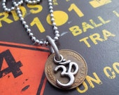 Om and German Pfennig Upcycled Mens Necklace with Ball Chain