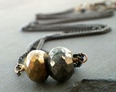 gold pyrite necklace, crystal necklace, layering pyrite necklace on mixed metal chain, boho jewelry