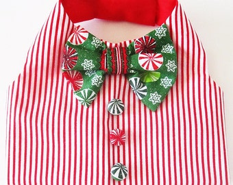 Dog Vest Holiday Boy Dog Clothes Red and White Stripe Christmas with Candy Buttons and Festive Bow Tie