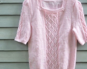 Ladies, size medium, square neck sweater with short sleeves and lacy panels, pink.