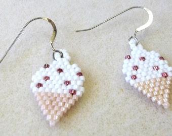 Vanilla Ice Cream Cones with Sprinkles Dangle Earrings Seed Bead Earrings Seed Bead Jewelry Clip on Earing Ice Cream Cone Earrings BE2081
