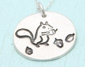 SQUIRREL and ACORNS necklace, illustration by BOYGIRLPARTY, eco-friendly silver or white bronze.  Handcrafted by Chocolate and Steel
