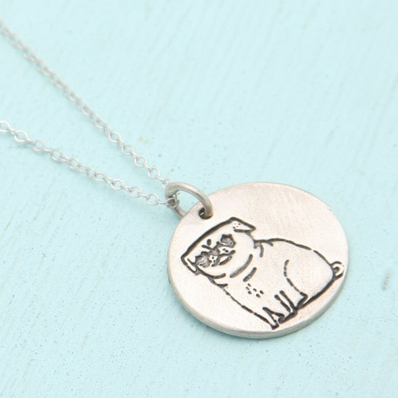 PUG silver pendant necklace, illustration by GEMMA CORRELL, handmade reclaimed sterling silver white bronze necklace by Chocolate and Steel