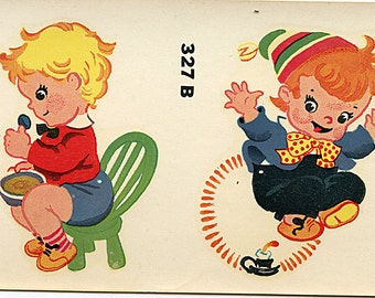 """1940's Decal NURSERY RHYMES 4 1/4"""" X 7"""" sheet Pair Little Jack Horner Jack Be Nimble More Available"""