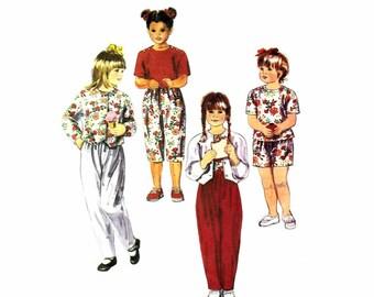 1990s Girls Shirt T-shirt Pants Shorts McCalls 5262 Sewing Pattern Size 6 UNCUT