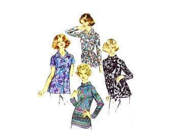 1970s Misses Blouses Simplicity 5359 Vintage Sewing Pattern Bias Roll Collar Blouse Different Sizes Available