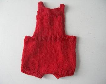 Red Handknit Romper