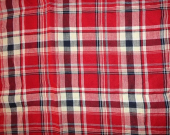 Vintage Red White Blue Cotton Plaid Fabric Yardage