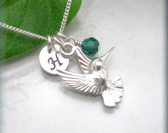 Hummingbird Necklace Charm Jewelry Birthstone Personalized Necklace Sterling Silver (SN863)