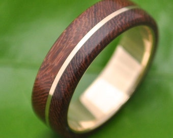 Size 10.5 READY TO SHIP Wood Ring Gold Asi Nacascolo -  ecofriendly wood wedding band with recycled yellow 14k gold
