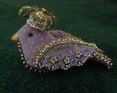 Sale!  Beaded velvet purple bird