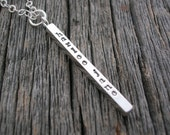 Hammered Bar • Hand Stamped Jewelry • Personalized Necklace • Sterling Silver Necklace