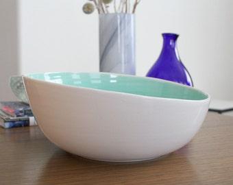 Asymmetrical Mint Green Serving Bowl second SHOP SALE - Tilt Serving Bowl in Mint Green