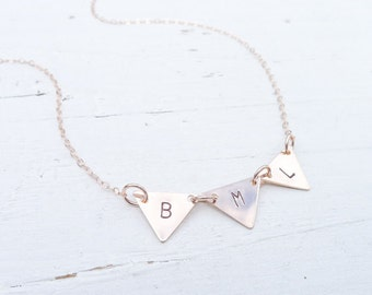 Triangle Bunting Necklace Rosegold Pennant Jewelry with Initials Pink Gold Dainty Triangle Charms in Rose Gold