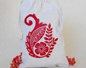 Red Floral Drawstring Gift Bag