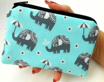 Zipper Pouch Little Padded Coin Purse ECO Friendly Elephants on Aqua