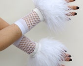 Cyber Fluffies White Fuzzy Furry Wrist Cuffs Rave Hand/Arm Warmers