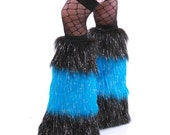 Go Go Fluffies Furry Leg Warmers Boot Covers UV Glitter Neon Blue Black