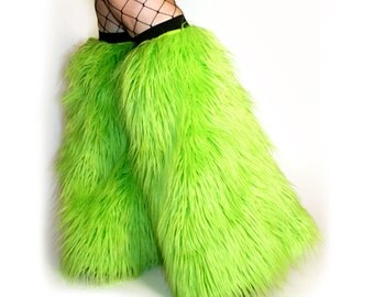 Rave Fluffies Fuzzy Leg Warmers Boot Covers Bright Lime Green