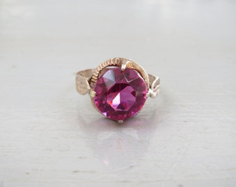 Pretty in Pink: Antique 10K Gold and Pink Paste Ring