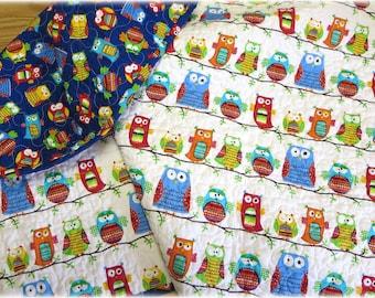 Organic Baby Quilt Hootenanny Owls Cotton Reversible Nursery bedding  crib bedding Gender Neutral