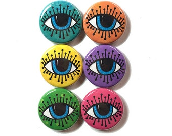 Evil Eye Magnets or Pinback Buttons - 1 inch eyeball fridge magnet or pin set, lucky, luck, blue eyes, all seeing eye, party favor