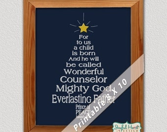 For unto us a child is born Prince of Peace Bible verse Christmas tree wall decor 8x10 printable Christmas Scripture art Isaiah 9:6