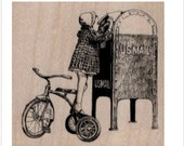 Rubber stamp   Girl on tricycle mailbox mail stamping   craft supplies number 19558 child bicycle