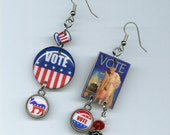 Vote Earrings - election vintage voting poster - Democrat Republican - red white and blue - primary convention democracy
