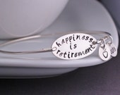 Teacher Retirement Gift, Sterling Silver or Gold Happiness is Retirement Bracelet, Apple Jewelry Gift, Retire