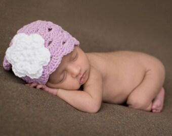 Crochet Baby Hat, Baby Girl Beanie, Baby Newborn Hat, Baby Girl Hat, Baby Girl, Newborn Prop, Lilac White, Newborn Baby Hat, Newborn Beanie