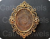 Antique Brass Filigree Cameo Setting 3 Pieces