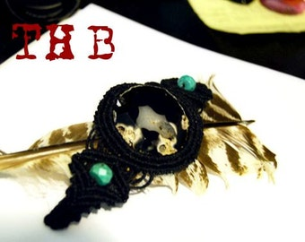 Black Onyx Druzy Agate Woven Macrame Hemp Bracelet
