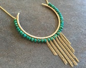 Bohemian turquoise pendant necklace.