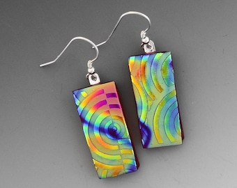 Dichroic Glass Textured Glass Earrings, Red Glass Earrings, Fused Glass Earrings, Silk and Satin Glass Earrings, Textured Glass Earrings